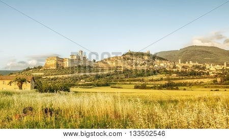 An image of a view to Assisi in Italy Umbria at the evening