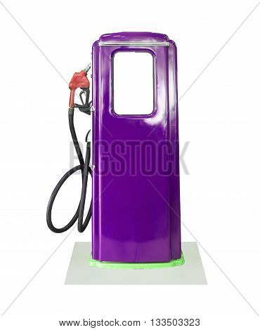 Vintage Purple Fuel Pump On White Background