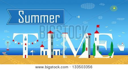 Inscription Summer time. Cute white houses on the coast. Unusual font. Blue banner with plane in the sky. Summer beach. Illustration.