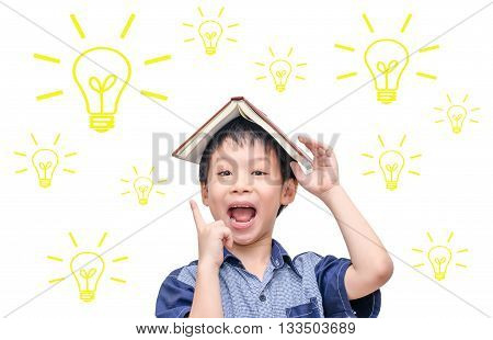 Young Asian student thinking with light bulbs over white