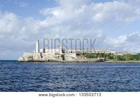Lighthouse at El Morro Cabana fort in Havana, Cuba