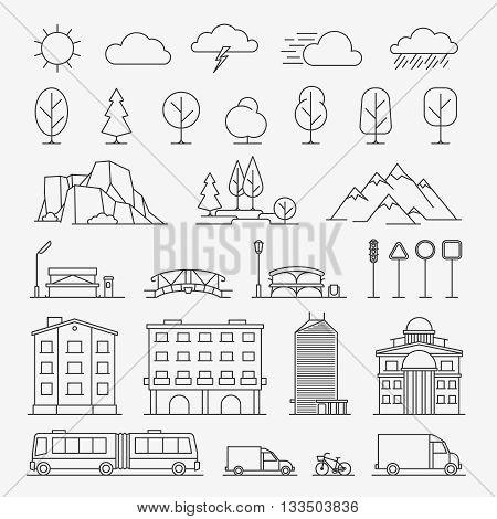 Urban line icons. Urban landscape linear signs. Vector illustration