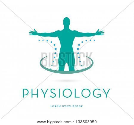 MAN'S SILHOUETTE WITH OPEN ARMS , VECTOR LOGO / ICON