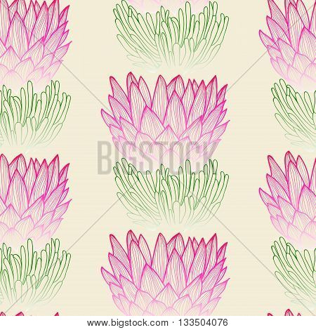 Floral seamless pattern. Tropical protea flower background. Floral tile ornamental texture with flowers. Spring flourish garden