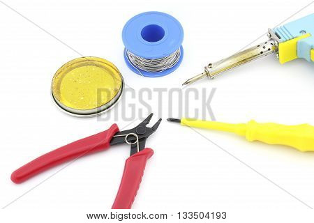 Soldering tools and accesories, soldering wire, soldering paste, cutting plier, screw driver, letcon