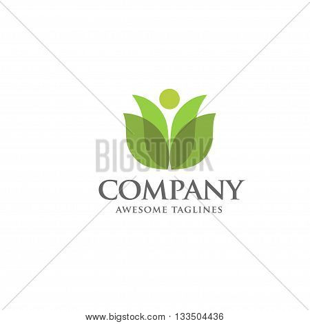 green leaf and health care logo vector, spa and wellness logo