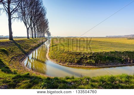 Backlit image of a row of bare trees reflected in the mirror smooth water surface of a curved ditch on a sunny day at the end of the winter season in the Netherlands.