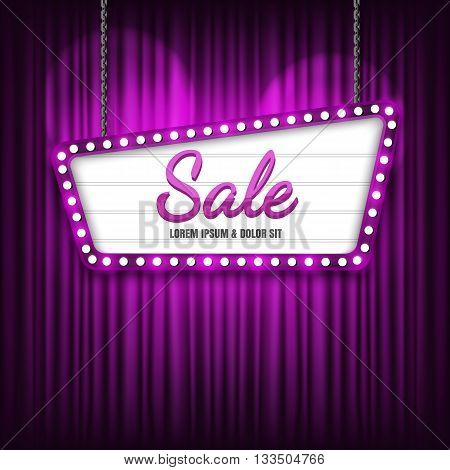 Retro Showtime Sign Design. Retro sign with Sale banner. Vector