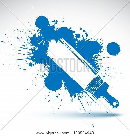 Hand-painted decorative blue grunge background made with smudge brushstrokes.