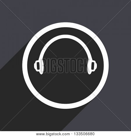 listen icon, gray vector flat design internet button, web and mobile app illustration