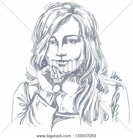 Artistic hand-drawn vector image black and white portrait of flirting girl with delicate features. Emotions theme illustration.