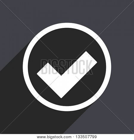 accept  icon, gray vector flat design internet button, web and mobile app illustration
