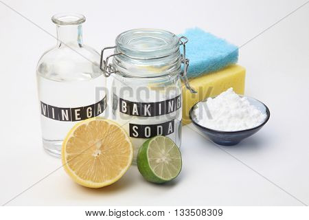 Homemade green cleaning.Lemon and baking soda on white background