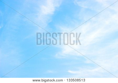 Blue sky and clouds in the bright days of summer for sky background