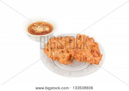 fried taro in crystal dish on white background
