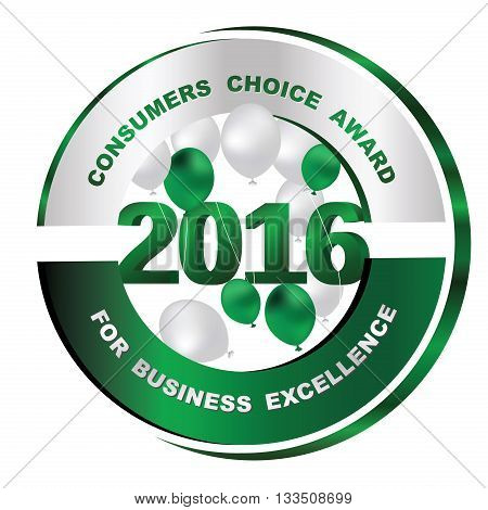 Consumers choice award for business excellence 2016 - green label with balloons