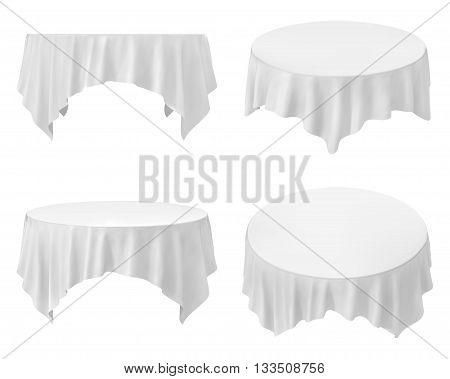 White round tablecloth set isolated on white
