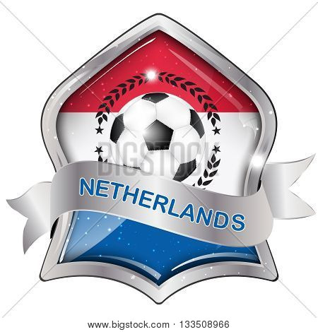 Netherlands flag elegant shiny icon / button / label with soccer ball, vector design.