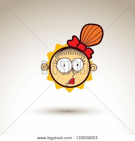 Vector Art Hand Drawn Illustration Of Surprised Person. Girl Temperament Idea, Emotions On Woman Fac
