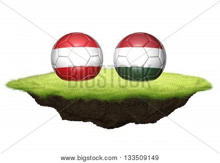 Austria and Hungary team balls for football championship tournament, 3D rendering