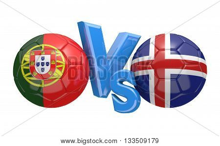 Football competition between national teams Portugal and Iceland, 3D rendering