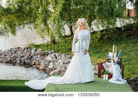 Beautiful Young Bride In Luxury Wedding Dress