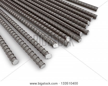 The bars of reinforcement. A set of reinforced steel. 3D illustration