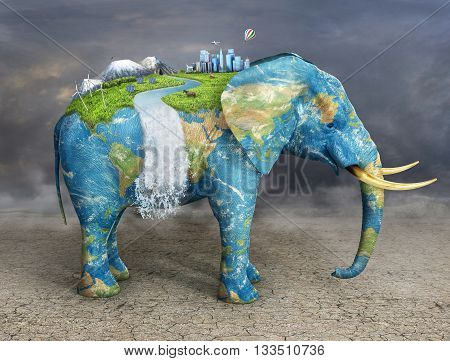Concept of stability. Future city on textured elephant's back. City mountains animals solar panel on covered grass elephant. Eco concept.