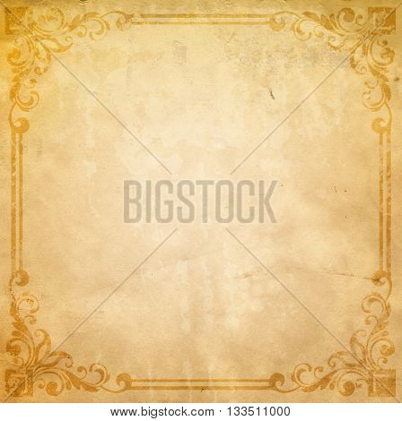 Old dirty paper background with decorative vintage border. Old vintage paper texture.
