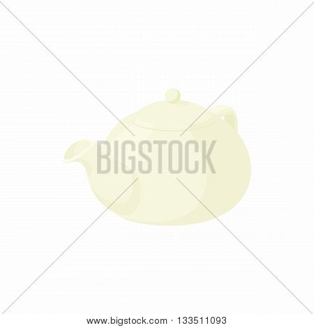 White porcelain teapot icon in cartoon style n a white background