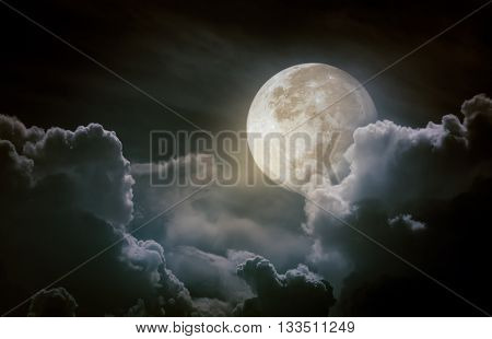 Nighttime Sky With Clouds, Bright Full Moon Would Make A Great Background.