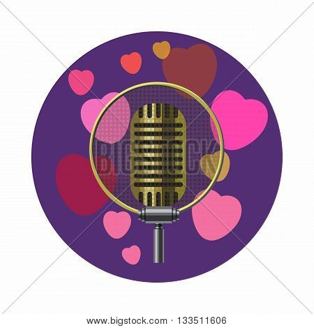 Vintage microphone and pink hearts icon in cartoon style on a white background
