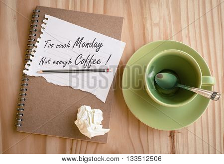 Quote : Too much Monday ,not enough coffee