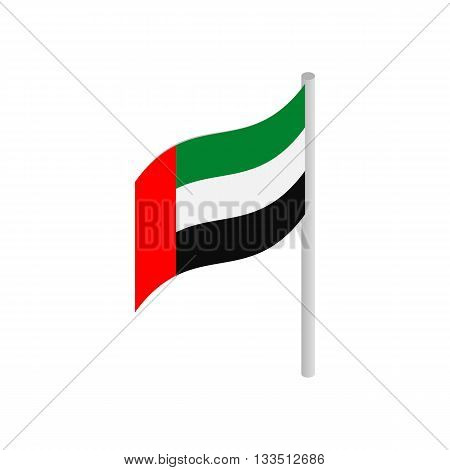 Flag of United Arab Emirates icon in isometric 3d style isolated on white background. State flags symbol