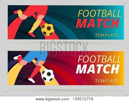 Set of vector football match flyer background with ball and player foot on striped layout banner design