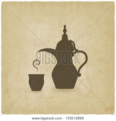 Arabic coffee pot old background. vector illustration - eps 10