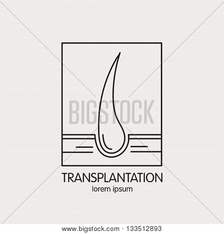 Vector line logo on the theme of of hair transplantation. Emblems for hair transplant clinic, hair medical cosmetics.