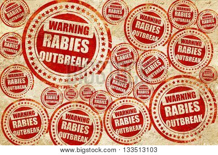 Rabies virus concept background, red stamp on a grunge paper tex