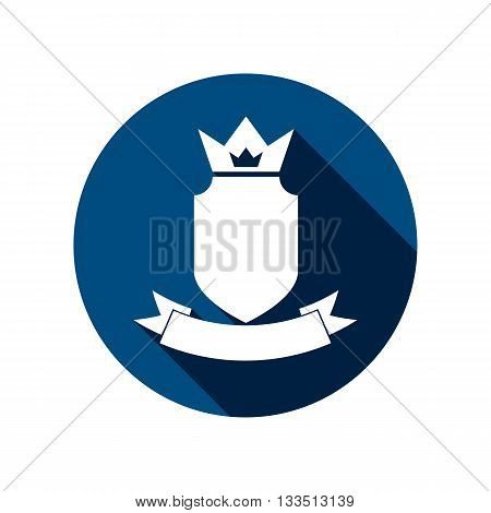 Heraldic symbol protection shield with king crown and beautiful ribbon.
