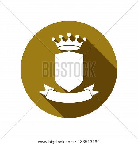 Royal security shield with king crown isolated on white. Heraldry imperial coat of arms.