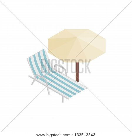 Sun lounger and parasol icon in isometric 3d style isolated on white background. Relax on the beach symbol