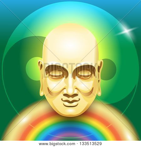 Vector image of a gold Buddha head with a rainbow in the form of a body on a green background yin yang symbol. Symbolic image of the mind and body health.