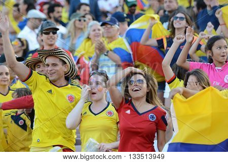Pasadena, USA - June 07, 2016: Colombia national team  fans during Copa America Centenario match Colombia vs Paraguay at the Rose Bowl Stadium.