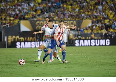 Soccer Players Fighting For The Ball During Copa America Centenario
