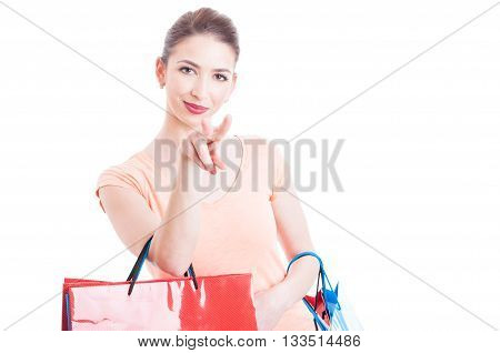Shopper Lady Making Watching You Gesture Concept