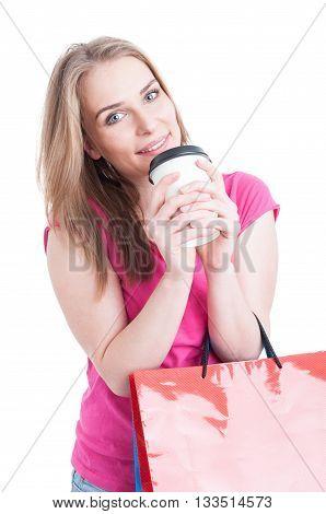 Portrait Of Joyful Female Shopper Enjoying Shopping And Coffee