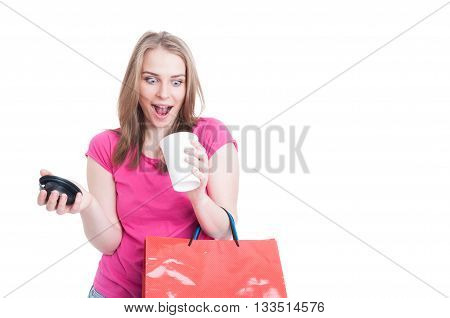 Young Pretty Shopaholic Holding Shopping Bags And Espresso