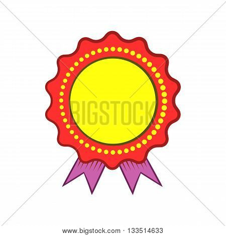 Award rosette with violet ribbon icon in cartoon style on a white background