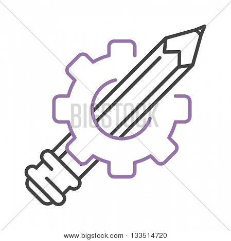 Pen icon drawing gear vector.