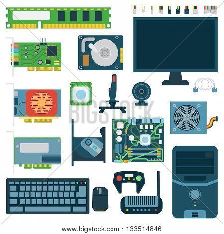 Computer symbols vector set.